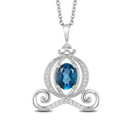 Enchanted Disney Cinderella Oval London Blue Topaz and 1/10 CT. T.W. Diamond Carriage Pendant in Sterling Silver - 19""
