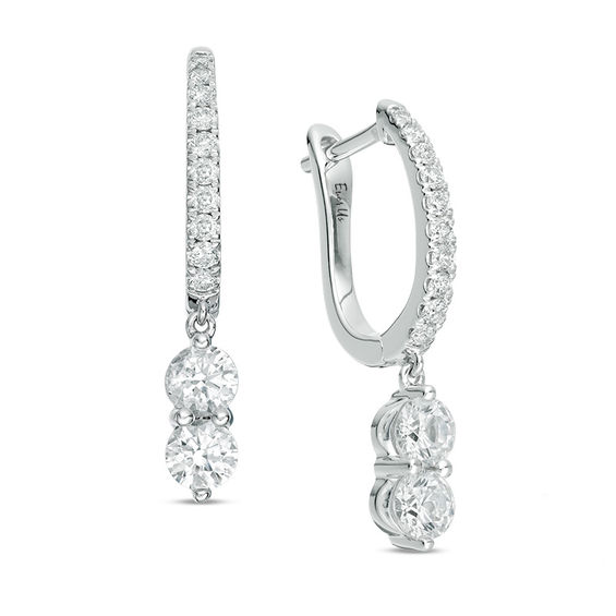 T W Two Stone Diamond Drop Earrings In 14k White