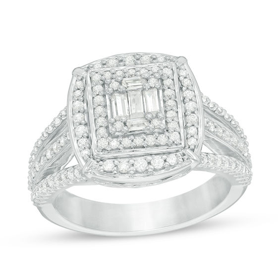 3 4 Ct T W Baguette And Round Composite Diamond Double