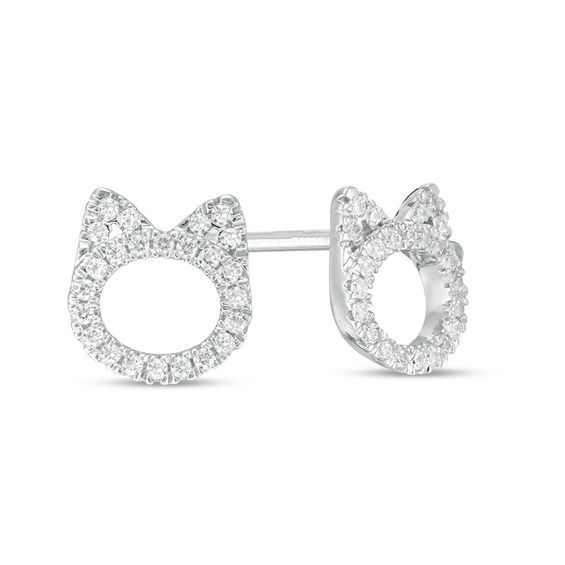 T W Diamond Cat Stud Earrings In Sterling Silver
