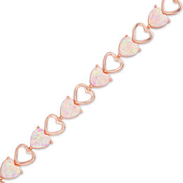 6.0mm Heart-Shaped Lab-Created Pink Opal Bracelet in Sterling Silver with 18K Rose Gold Plate - 7.25""