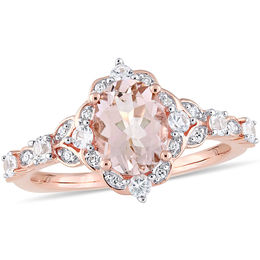 Oval Morganite, White Sapphire and 1/20 CT. T.W. Diamond Frame Ring in 10K Rose Gold