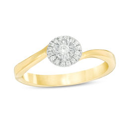 1/10 CT. T.W. Diamond Frame Bypass Promise Ring in 10K Gold
