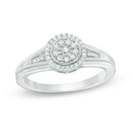 1/6 CT. T.W. Diamond Double Frame Promise Ring in Sterling Silver