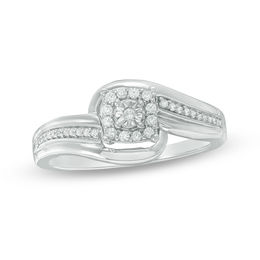 1/6 CT. T.W. Diamond Square Frame Bypass Promise Ring in Sterling Silver