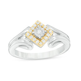 1/6 CT. T.W. Diamond Tilted Square Frame Promise Ring in Sterling Silver and 10K Gold