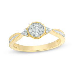 1/10 CT. T.W. Composite Diamond Tri-Sides Promise Ring in 10K Gold