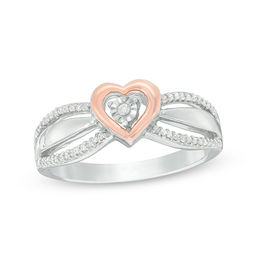 1/10 CT. T.W. Diamond Heart Frame Promise Ring in Sterling Silver and 10K Rose Gold