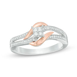 1/8 CT. T.W. Quad Diamond Bypass Promise Ring in Sterling Silver and 10K Rose Gold