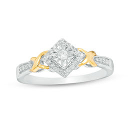 "1/6 CT. T.W. Diamond Tilted Square Frame ""X"" Sides Promise Ring in 10K Two-Tone Gold"