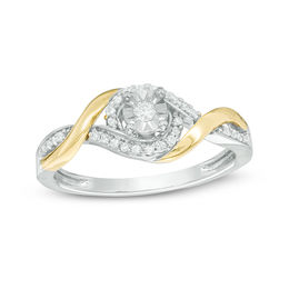 1/6 CT. T.W. Diamond Swirl Frame Bypass Promise Ring in Sterling Silver and 10K Gold