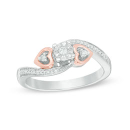 1/10 CT. T.W. Diamond Heart Sides Promise Ring in Sterling Silver and 10K Rose Gold