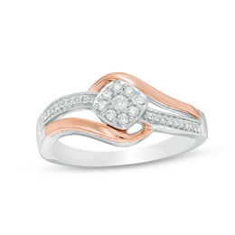 1/5 CT. T.W. Diamond Tilted Cushion Frame Bypass Promise Ring in Sterling Silver and 10K Rose Gold