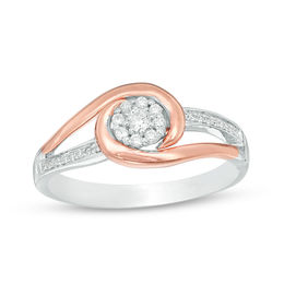1/6 CT. T.W. Diamond Frame Swirl Bypass Promise Ring in Sterling Silver and 10K Rose Gold