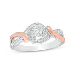 1/6 CT. T.W. Diamond Swirl Bypass Frame Promise Ring in Sterling Silver and 10K Rose Gold