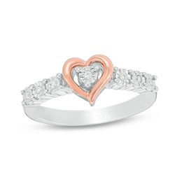 1/20 CT. T.W. Diamond Heart Frame Promise Ring in Sterling Silver and 10K Rose Gold