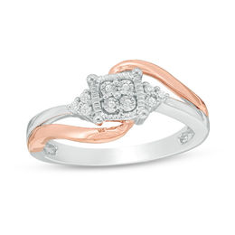 1/8 CT. T.W. Diamond Cushion Frame Tri-Sides Bypass Promise Ring in Sterling Silver and 10K Rose Gold