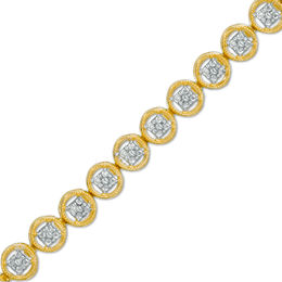 1/10 CT. T.W. Diamond Circle Tennis Bracelet in Sterling Silver with 14K Gold Plate - 7.25""