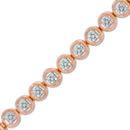1/10 CT. T.W. Diamond Circle Tennis Bracelet in Sterling Silver with 14K Rose Gold Plate - 7.25""