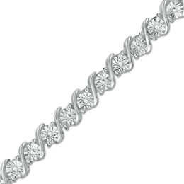 "1/10 CT. T.W. Diamond ""S"" Tennis Bracelet in Sterling Silver - 7.25"""