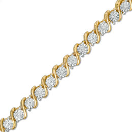 "1/10 CT. T.W. Diamond ""S"" Tennis Bracelet in Sterling Silver with 14K Gold Plate - 7.25"""
