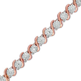 "1/10 CT. T.W. Diamond ""S"" Tennis Bracelet in Sterling Silver with 14K Rose Gold Plate - 7.25"""