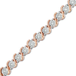 "1/4 CT. T.W. Diamond ""S"" Tennis Bracelet in Sterling Silver with 14K Rose Gold Plate - 7.25"""