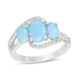 Oval Lab-Created Blue Opal and White Sapphire Three Stone Bypass Ring in Sterling Silver - Size 7