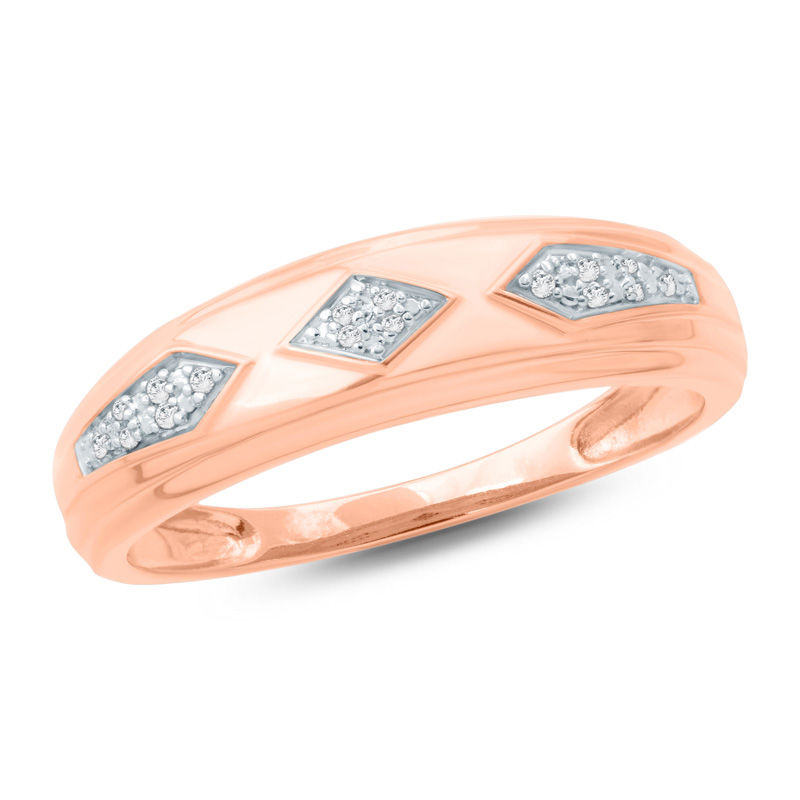 Men S Diamond Accent Retro Geometric Wedding Band In 10k Rose Gold View All Wedding Wedding Gordon S Jewelers