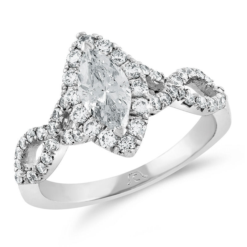 1 1 5 Ct T W Certified Marquise Diamond Frame Twist Engagement Ring In Platinum H Si2 View All Wedding Wedding Gordon S Jewelers