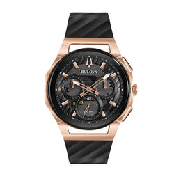 Men's Bulova Curv Chronograph Two-Tone Strap Watch with Black Skeleton Dial (Model: 98A185)