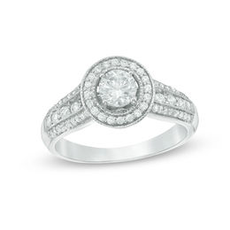 3/4 CT. T.W. Diamond Frame Multi-Row Vintage-Style Engagement Ring in 10K White Gold