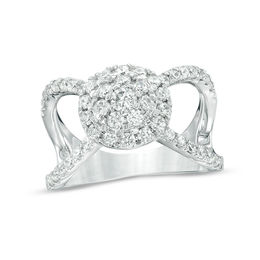 1 CT. T.W. Diamond Double Frame Split Shank Ring in 10K White Gold