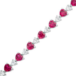 Heart-Shaped Lab-Created Ruby and White Sapphire Line Bracelet in Sterling Silver - 7.25""