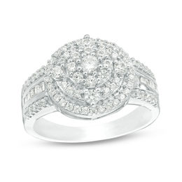 3/4 CT. T.W. Diamond Triple Frame Multi-Row Ring in 10K White Gold