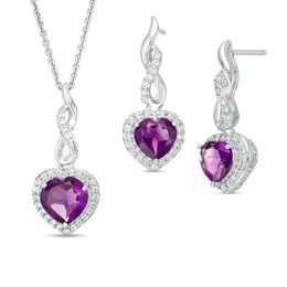 Heart-Shaped Amethyst and Lab-Created White Sapphire Infinity Drop Pendant and Earrings Set in Sterling Silver