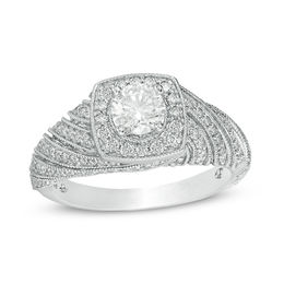 1 CT. T.W. Diamond Cushion Frame Spiral Shank Vintage-Style Engagement Ring in 10K White Gold