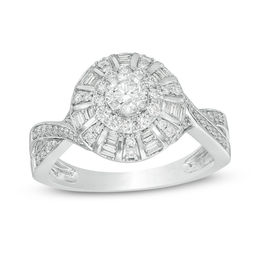 1 CT. T.W. Diamond Frame Twist Vintage-Style Engagement Ring in 10K White Gold