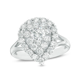 1-1/3 CT. T.W. Diamond Double Pear-Shaped Frame Engagement Ring in 14K White Gold