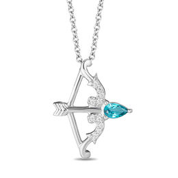 Enchanted Disney Merida Pear-Shaped Blue Topaz and 1/20 CT. T.W. Diamond Bow and Arrow Pendant in Sterling Silver - 19""