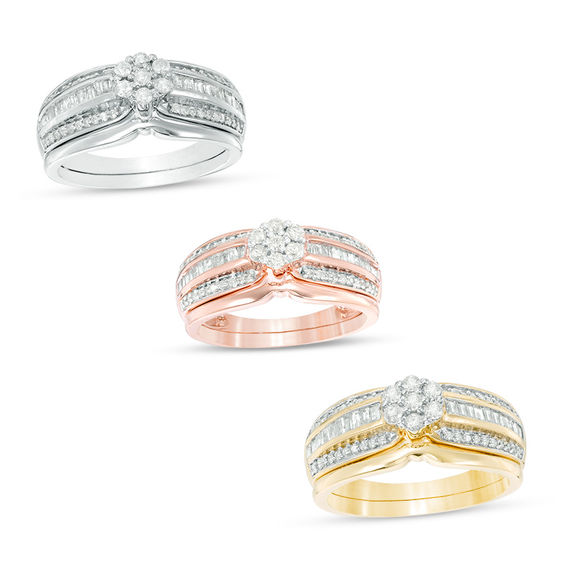 3/8 CT. T.W. Composite Diamond Multi-Row Bridal Set in 10K White, Rose or Yellow Gold V-20151002
