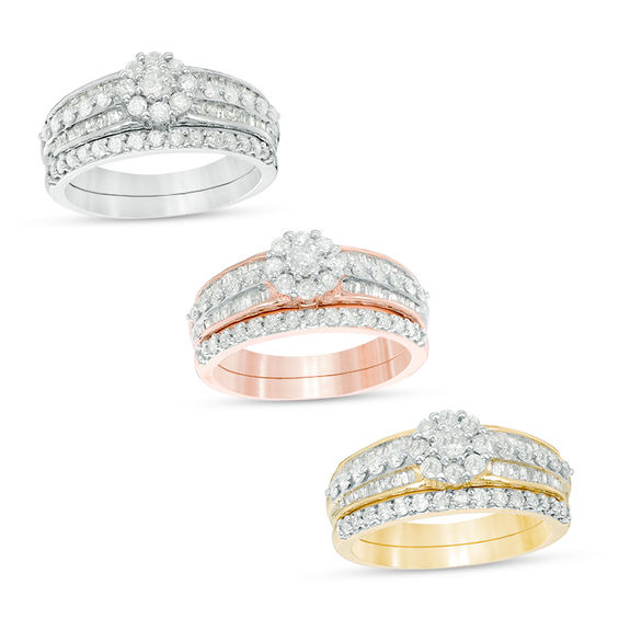 7/8 CT. T.W. Diamond Frame Multi-Row Bridal Set in 10K White, Rose or Yellow Gold V-20151012