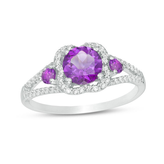 6.0mm Amethyst and 1/5 CT. T.W. Diamond Scallop Frame Ring in Sterling Silver V-20151578