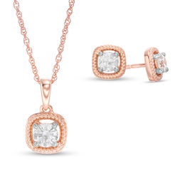 Image result for 1/2 CT. T.W. Diamond Twist Cushion Frame Pendant and Stud Earrings Set in 10K Rose Gold