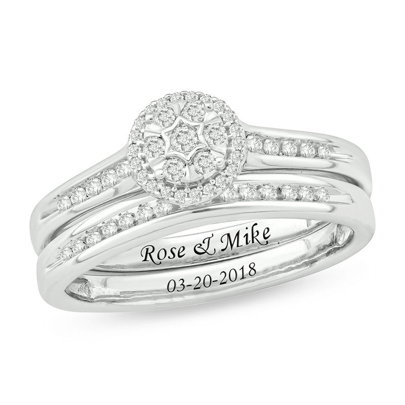 ring petal tw en composite in gold three circle semi triple white diamond cluster