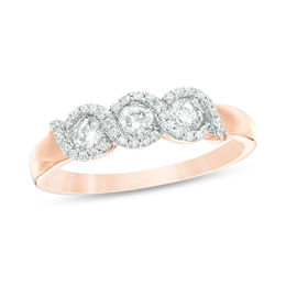 1/2 CT. T.W. Diamond Three Stone Twist Frame Engagement Ring in 10K Rose Gold
