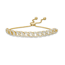 2 CT. T.W. Diamond Interlocking Curb Link Bolo Bracelet in 10K Gold - 9.5""
