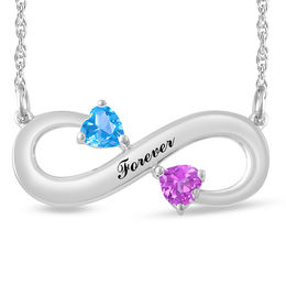 Couple's 4.0mm Heart-Shaped Birthstone Engravable Infinity Necklace (2 Stones and 1 Line)