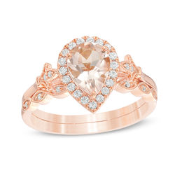 Pear-Shaped Morganite and 1/5 CT. T.W. Diamond Frame Fleur-de-Lis Vintage-Style Bridal Set in 10K Rose Gold