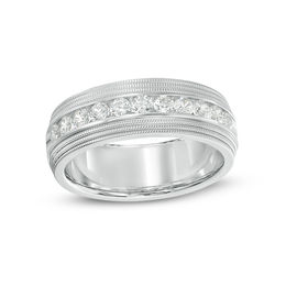 Men's 3/4 CT. T.W. Diamond Milgrain Wedding Band in 14K White Gold